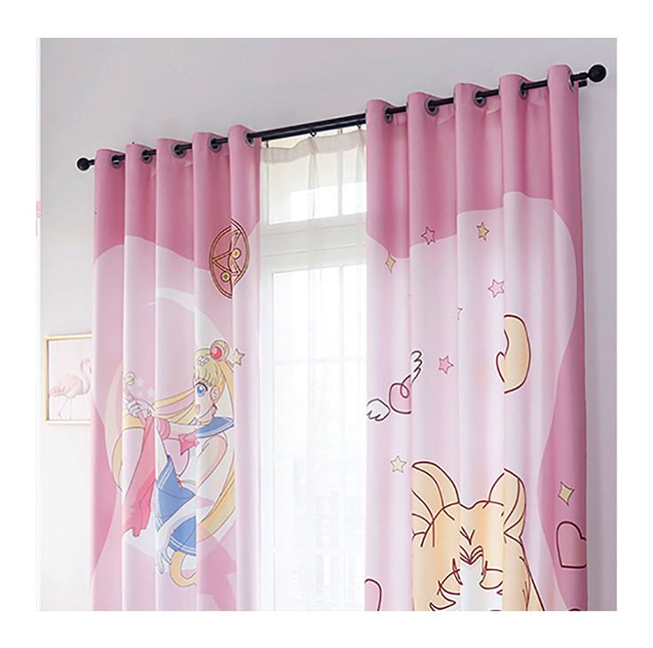 High Quality Custom Made 3D Digital Printed Sailor Moon Cartoon Pictures Window Curtains