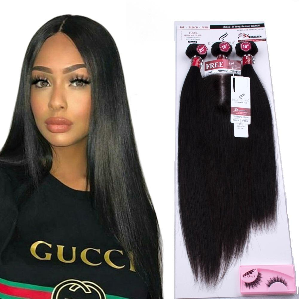 60g 60g 55g Factory Low Price Brazilian Mink 3 Bundles With Lace Closure Packaging Hair Extensions