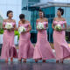 R3005 2020 new lace pink african bridesmaid dress sexy mermaid long dress bridesmaid