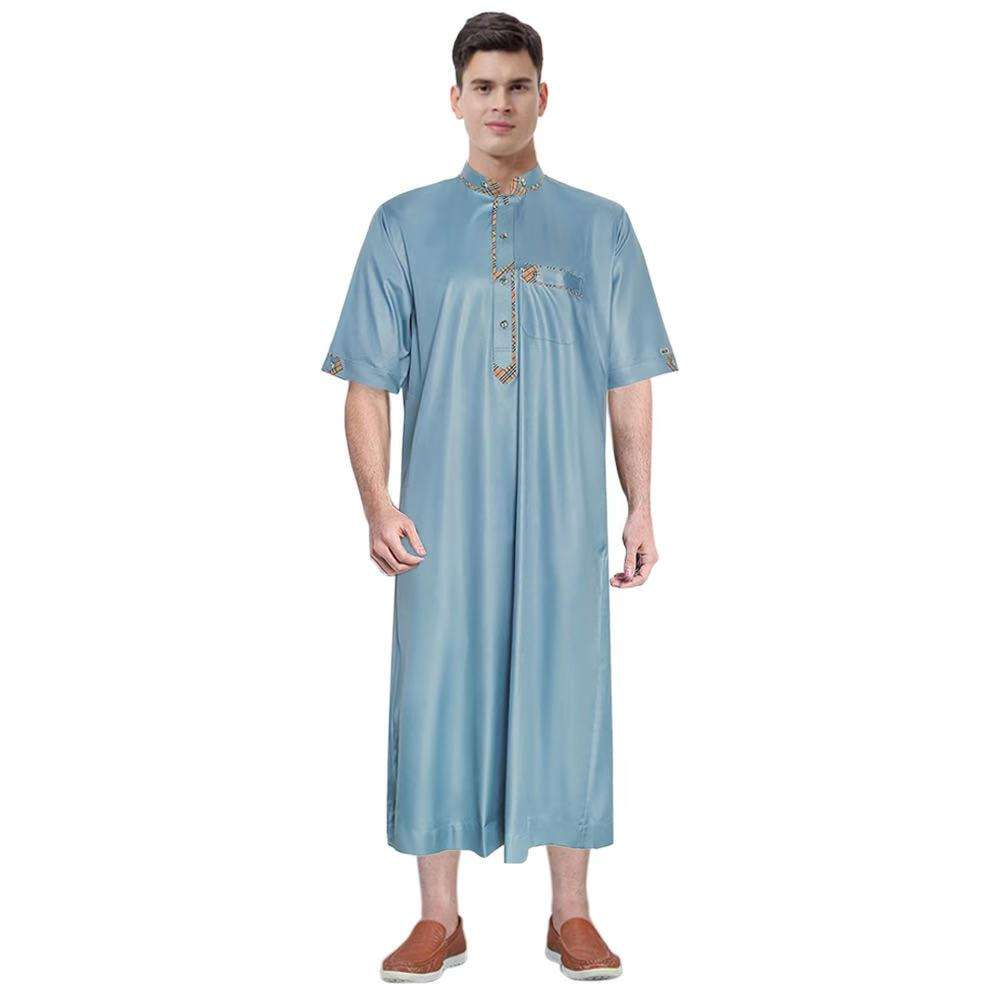 2021 new arrival muslim islamic men stand neckline short sleeve shirt dress solid color abaya kaftan style