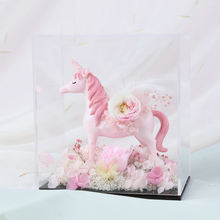 Unicorn Birthday Gift Stabilized Flower Preserved Roses in Acrylic box Artificial+Flower ideal Valentines Day present for girl