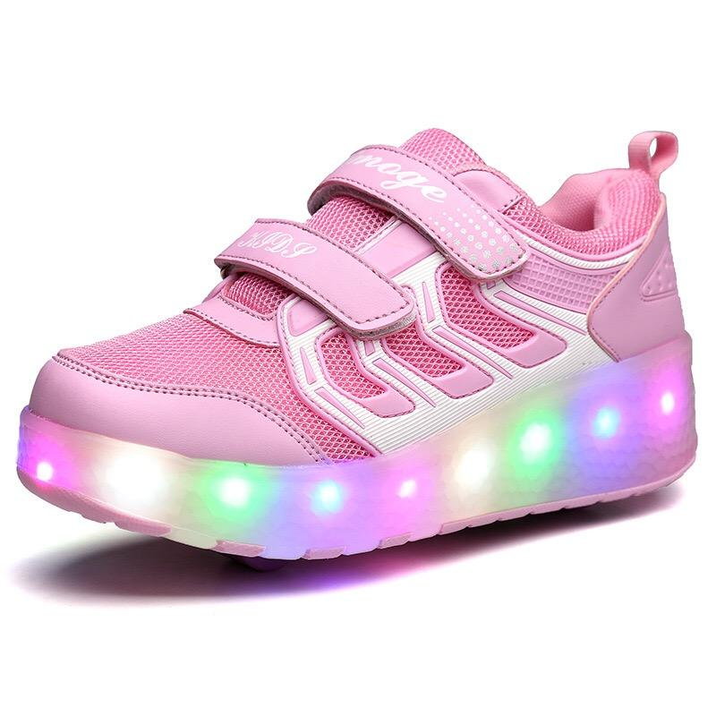 Two-wheeled walking shoes children's luminous roller skates boys and girls roller skates with light wheels shoes
