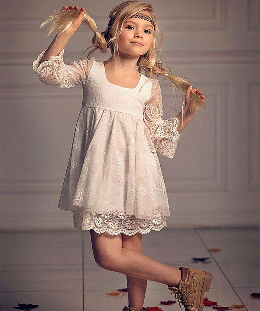 fancy little girls dresses with sleeves lace baby kids frocks white flower girl dress for wedding