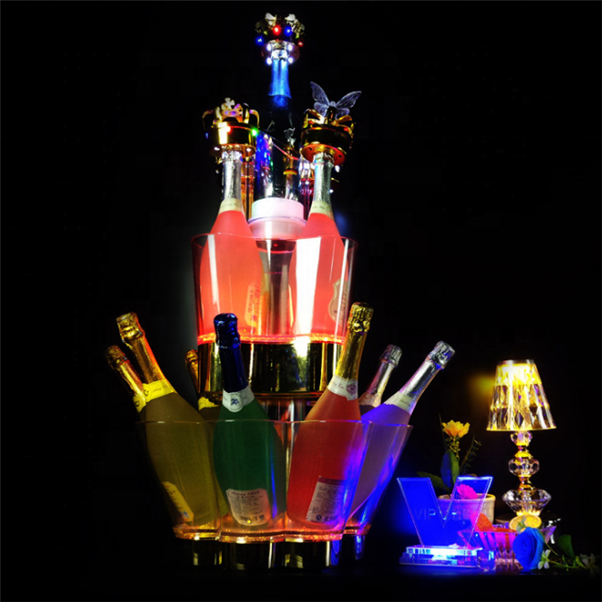 China Factory Custom Dj Disco Bar Party Grote Champagne <span class=keywords><strong>Wijn</strong></span> Led Verlichte Ijsemmer Goedkope Plastic <span class=keywords><strong>Wijn</strong></span> Ijsemmer Voor koop
