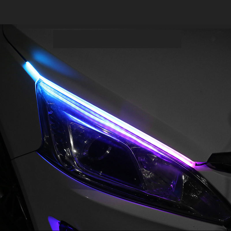 2020 New Factory Directly Day Time Running Led Light Strip Dual Color Flexible DRL Strip for Ca with Smooth Turn signal