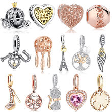 Rose Gold Tree Heels Heart Cat Bee Pumpkin Car Charms Beads Fit Pandora Bracelet Silver Dangle Pendant For Women