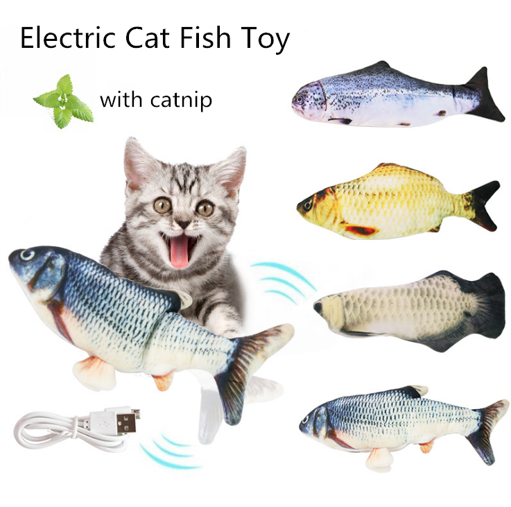 Hot Selling Electric Fish Simulation Cat Fish Toy With Catnip USB Charging Cat Toy Fish