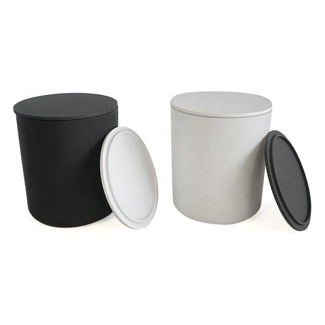 Hot frosted glass matte black white home decoration 13oz candle jar holders with black white metal stand