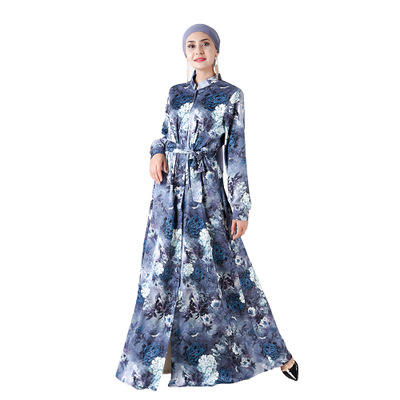 Manufacturer custom Fashion Islamic clothing Elastic Waist satin fabric Floral Printing Turkish Kaftan Dress with belts