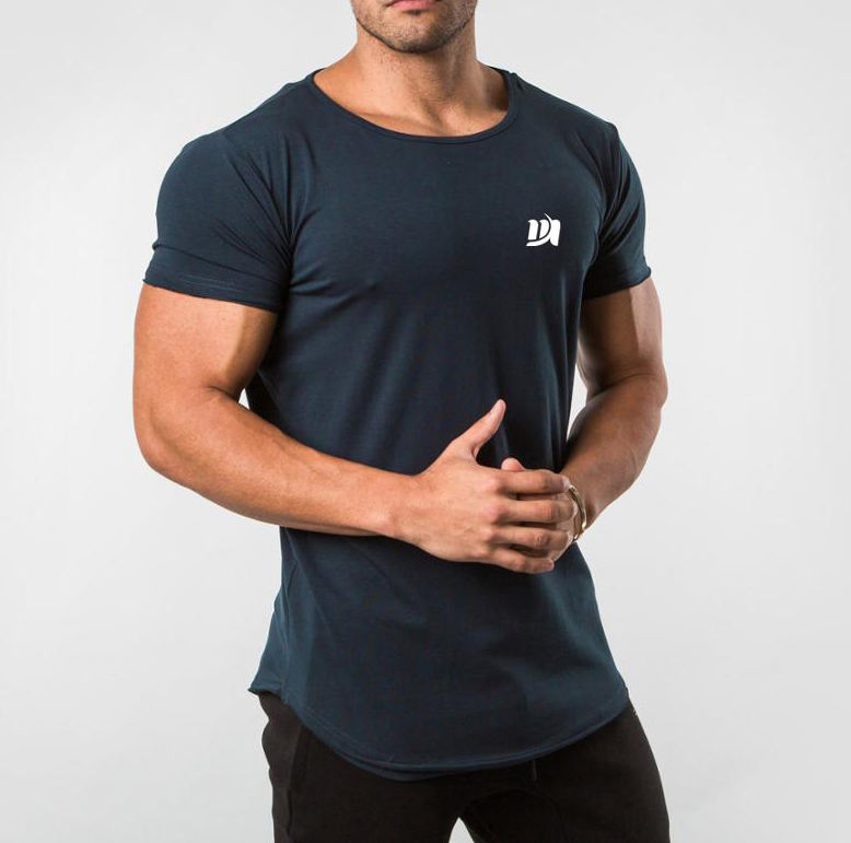 MS-2938 Wholesale Gym Tapered fit Space Blue Scoop Neck T Shirt Factory