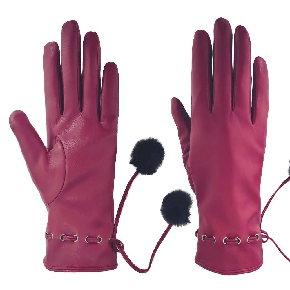Manufacturer Custom High Quality Women Winter Warm Fashion Pu Synthetic Leather Gloves