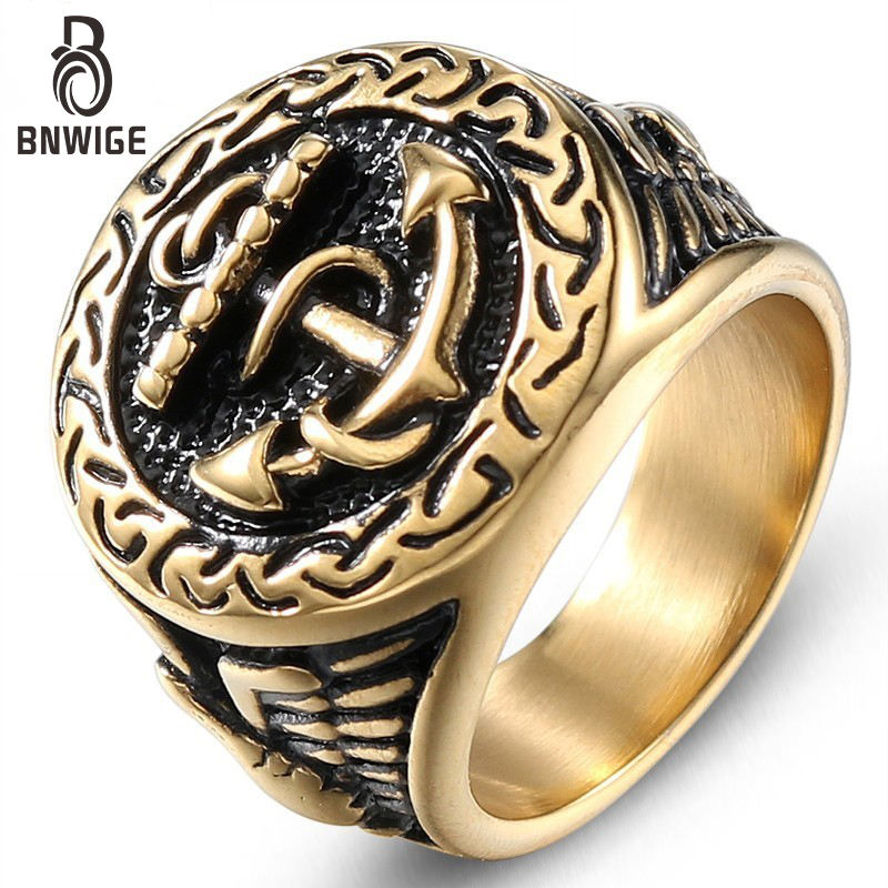 BNWIGE Rings tungsten 316 stainless steel Ring for men gold Custom Anchor Punk fashion wedding Military hop Eagle Jewelry