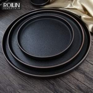 Factory direct wholesale hotel black nordic dish ceramic dinner plates restaurant ecofriendly porcelain dishes plates