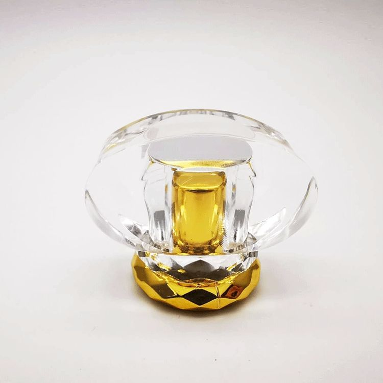New design smell proof custom acrylic square transparent perfume bottle cap inside golden