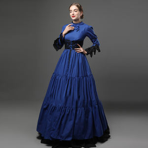 Victorian Maid Dark Cotton Dress Gothic Theater Steampunk Gown