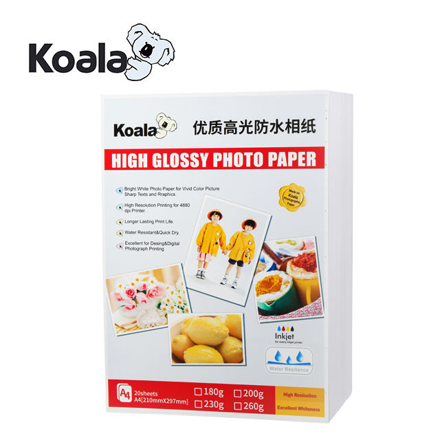 Digital high quality united office 180gsm inkjet Glossy Cast Coated photo paper A4