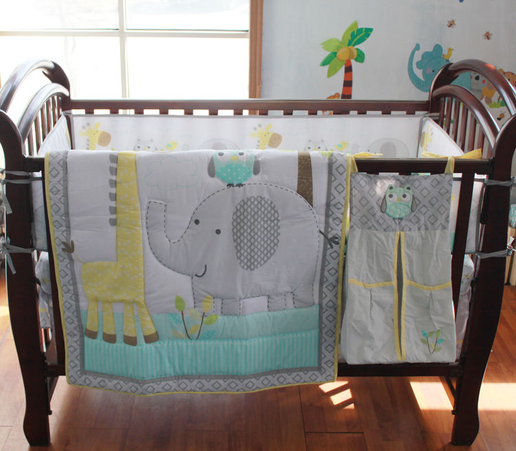 baby boys crib bedding set babies cot bedlinen fitted sheet american comforter set in elephant and deer printing