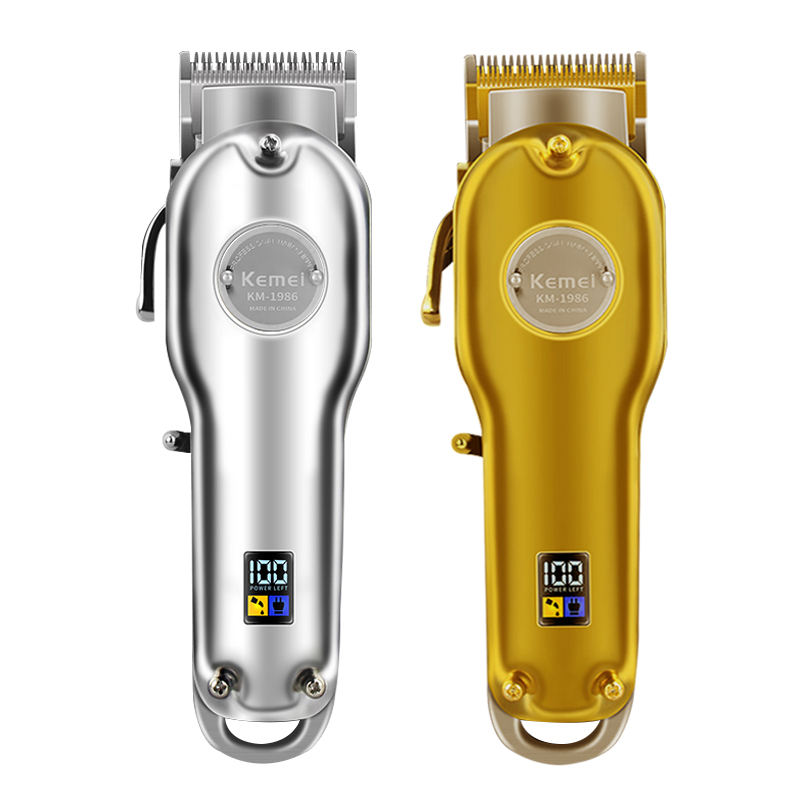 Kemei 1986 All-metal Barber Professional Hair Clippers Electric Cordless LCD Hair Trimmer Gold Silver Hair Cutting Machine