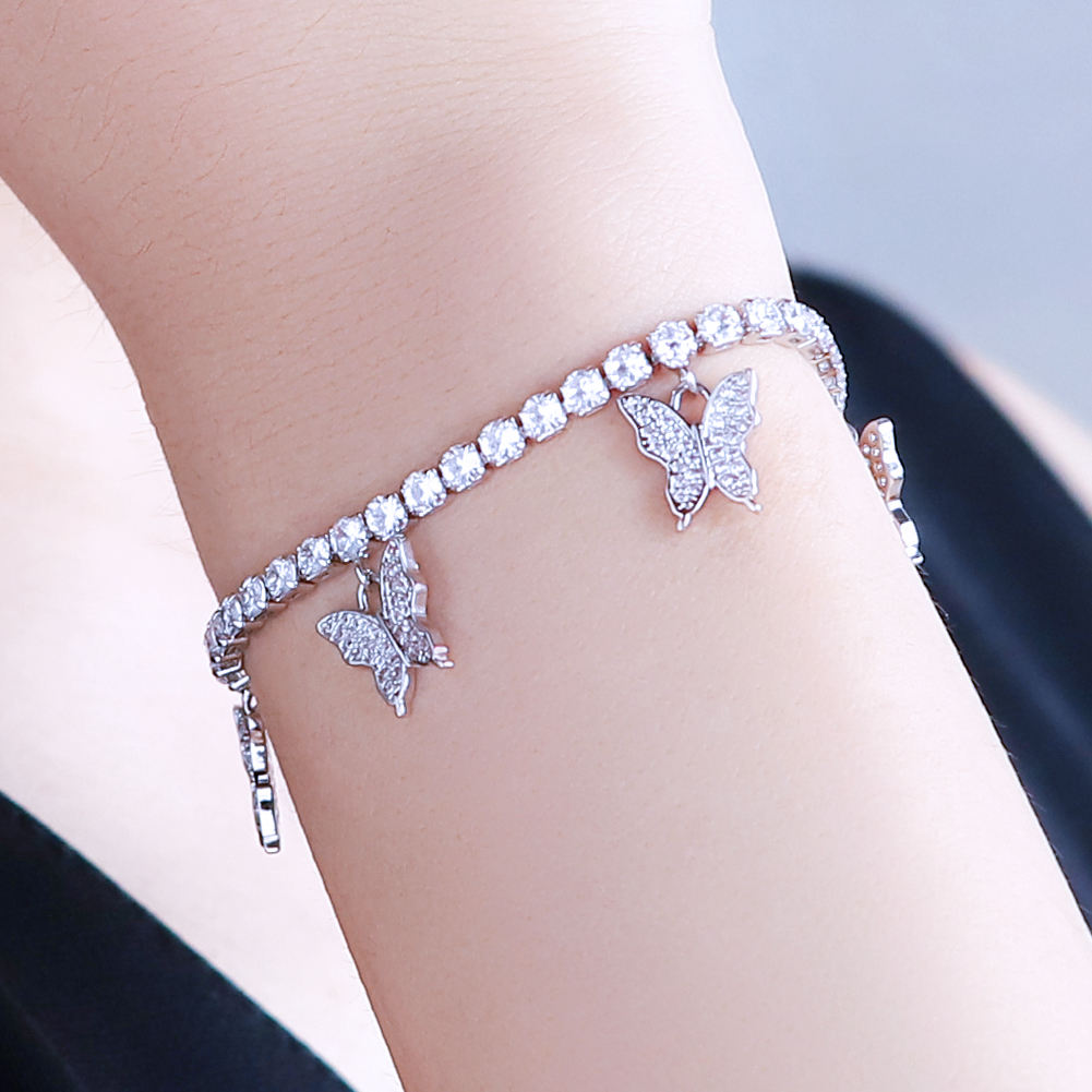 KRKC 2020 Silver Pink Gold Plated Stainless Steel Butterfly Tennis Bracelet CZ Diamond Jewelry Women Charm Butterfly Bracelet