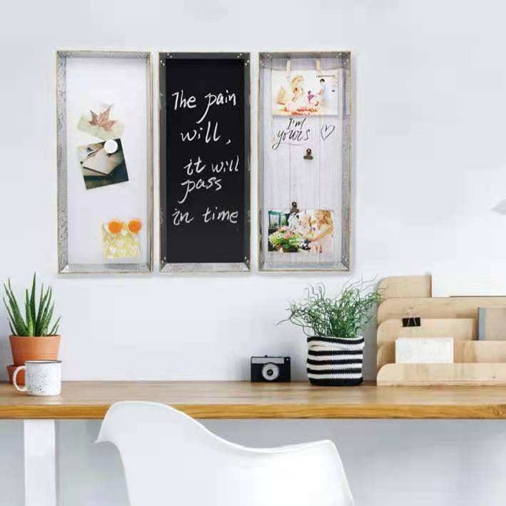 Office Wooden Frame Design Photo Display Wall Mounted Notice Pin Memo Decor Bulletin Board