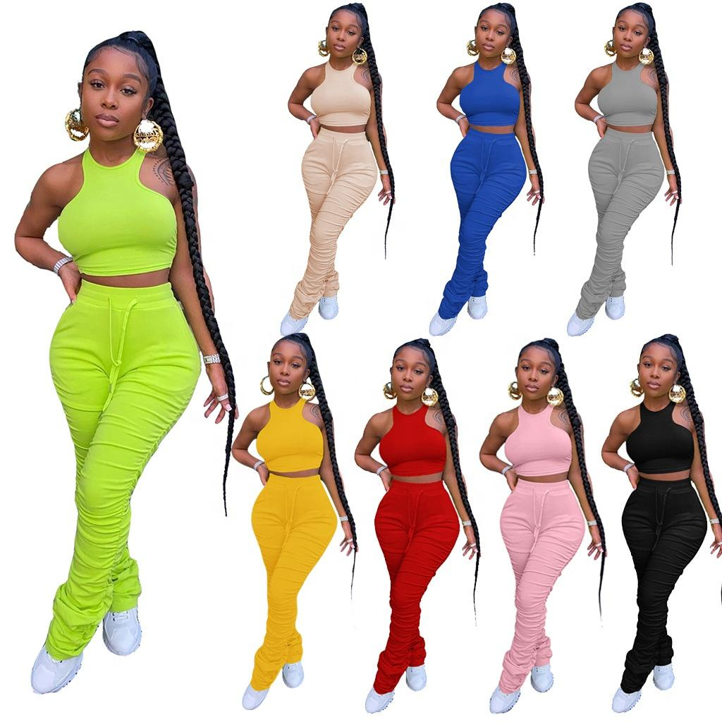 2021 Custom New Fashion Wholesale Women Sleeveless Tops And Pleated Pants 2 Piece Set Ruched Plus Size Stacked Leggings