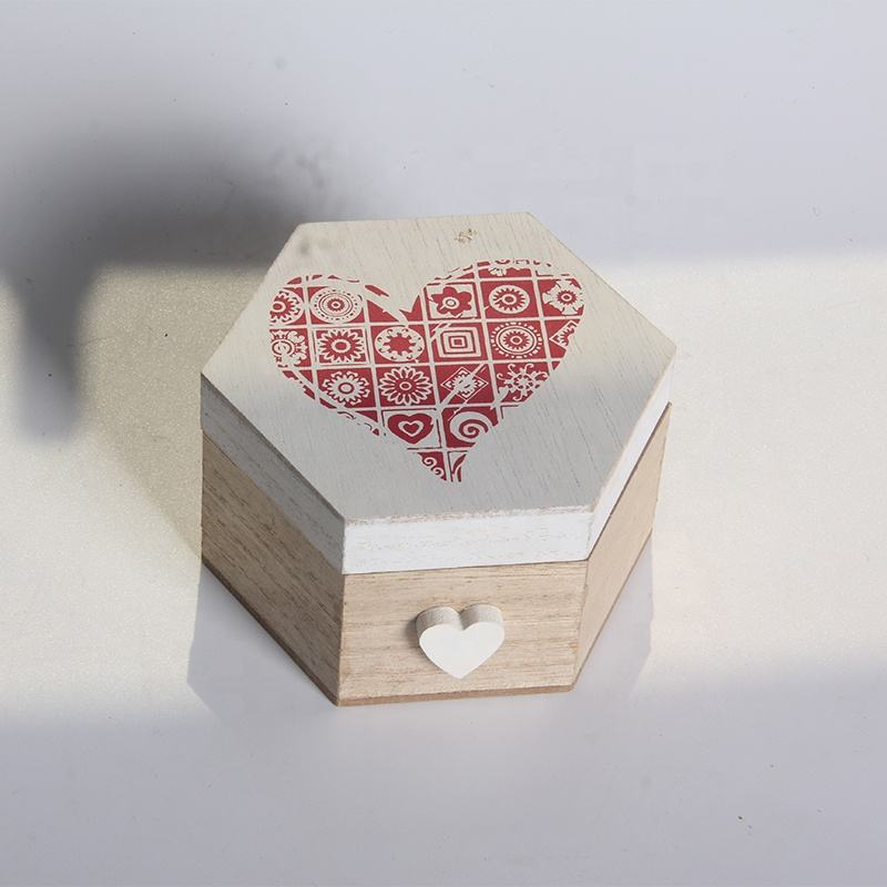 Valentine's Day Hexagon Painting Heart Storage Boxes Natual Wood