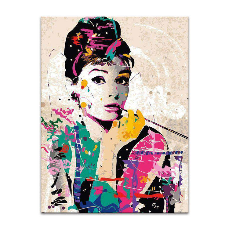 One-Stop Service [ Pop Art ] Pop Art Hot Selling Modern Decorative Pop Art Oil Painting Audrey Hepburn Portrait Painting