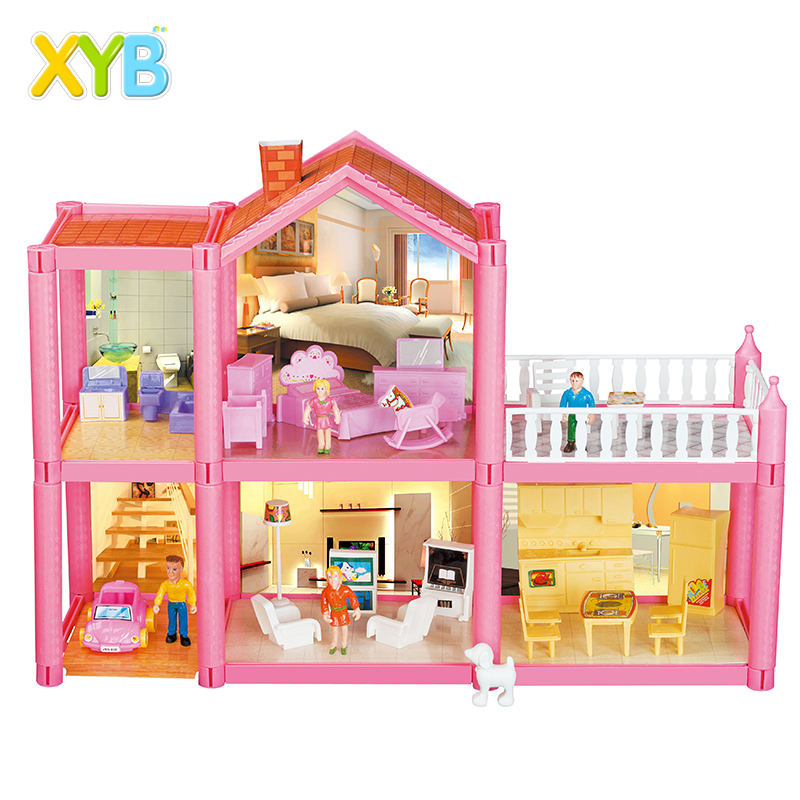 XYB Hot selling 2020 Doll House Furniture Miniature | Beautiful Villa Toys Houses Series For Kids Big Doll House