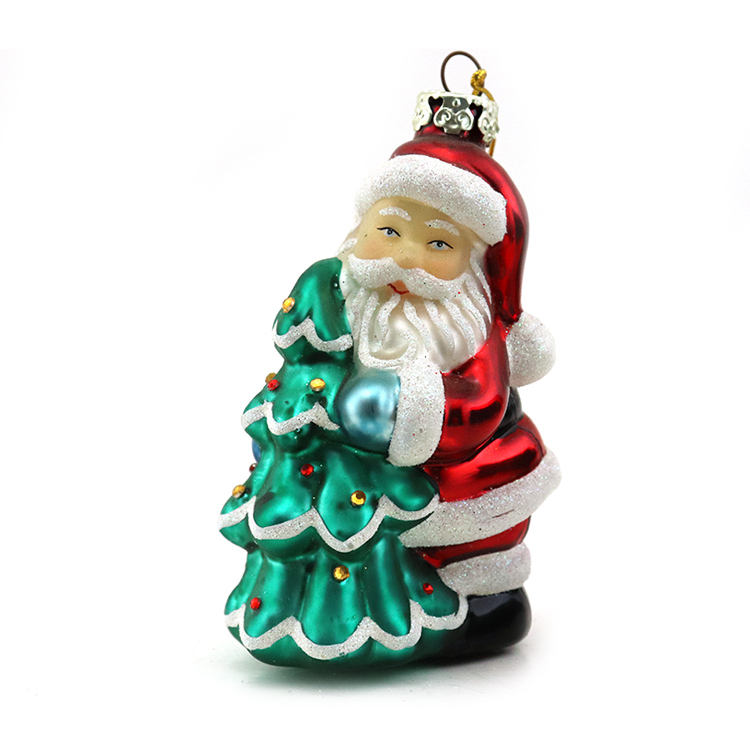 Artdargon Collection Full of Gifts Golden Frost Chubby Gent Glass Santa Claus Ornament, Santa Claus Christmas Ornament