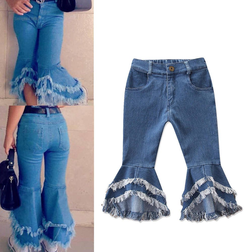 Wholesale Kids Daily Wear Children Ruffle Pants Baby Girl Tassel Bell Bottom Jeans
