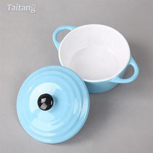 Binaurale Pentola Rotonda Bakeware di Cottura di Ceramica Pan Zuppa di Ciotola In Ceramica Con Coperchio