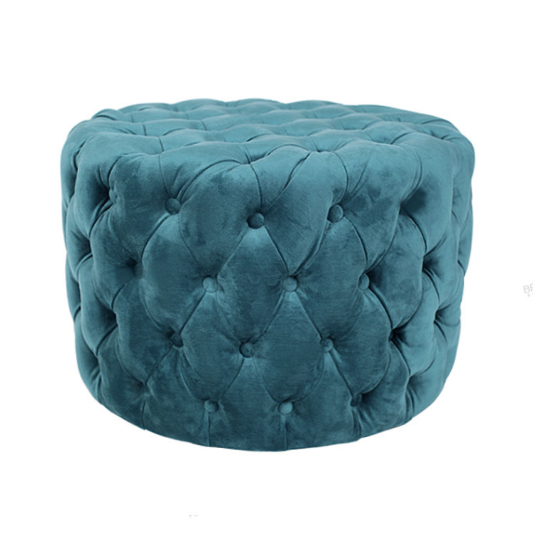Blue Velvet Tufting Moroccan wholesale Indian round pouf ottoman