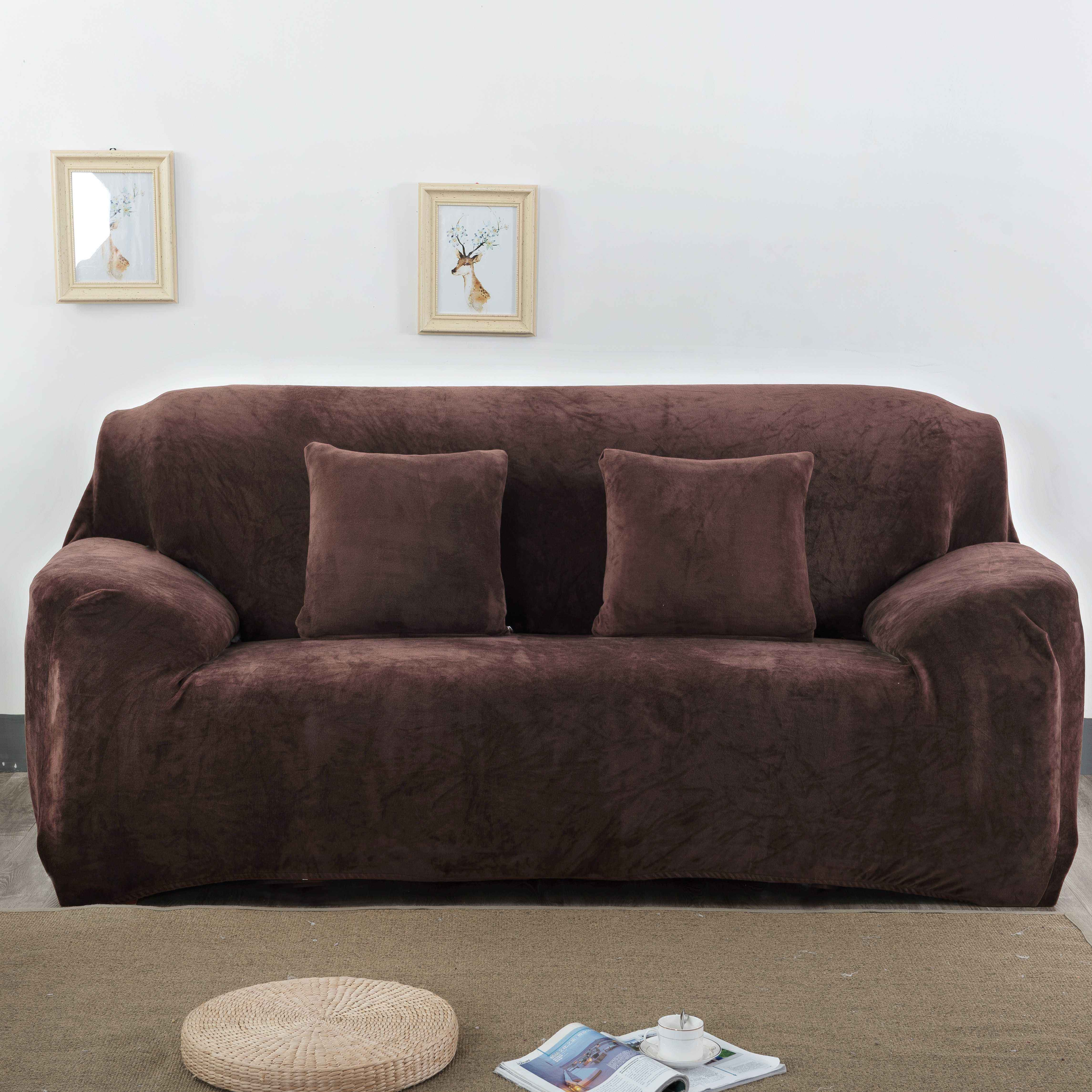 wholesale plush dust-proof stretchable 1 2 3 4 5 seater sofa cover set