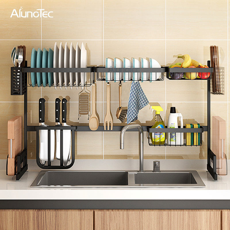 Over The Sink 85cm Stainless Steel Drying Kitchen Racks Metal Sink Dish Drainer Rack