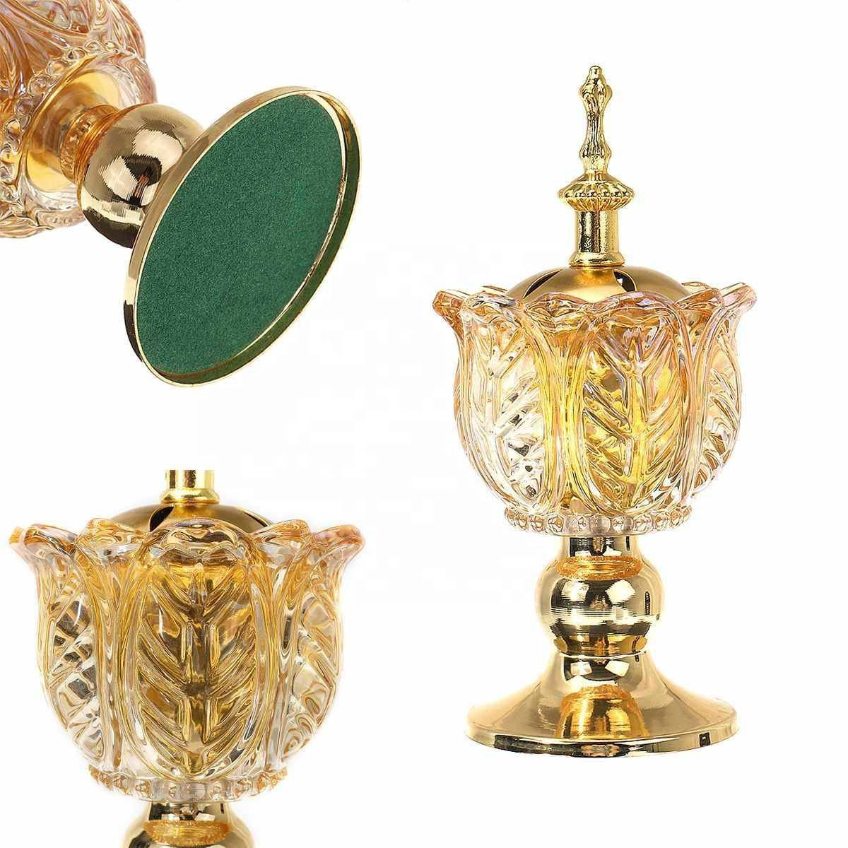 Arabian Crystal Incense burner Hollowed Essential Oil Lamp Burner Floral Decorated Desk Lamp Home Decoration