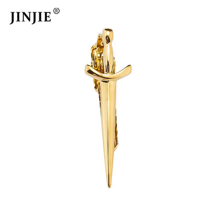 Short Gold Silver Plated Sword Blade Shaped Tie Bar Clip Tie Clasp For Sale