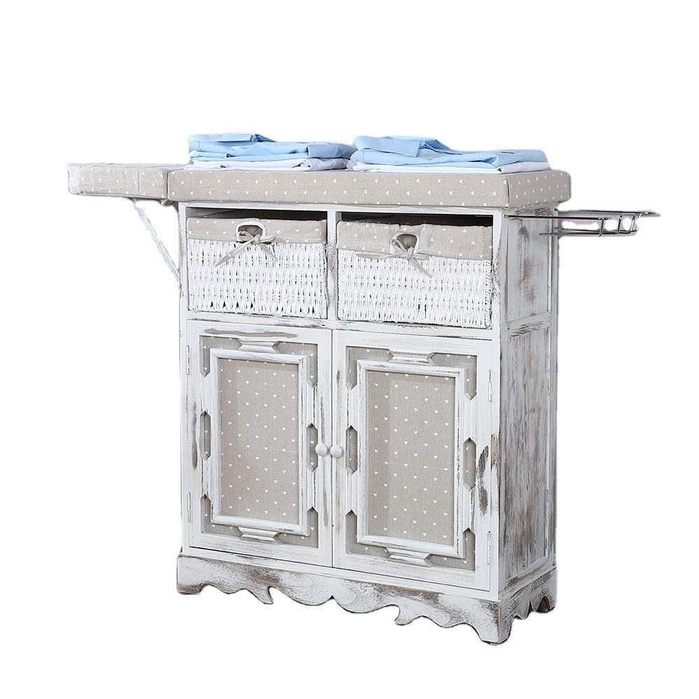 Multi-Function Heat Resistant Home Folding Durable Woven Basket Ironing Board Storage Cabinet