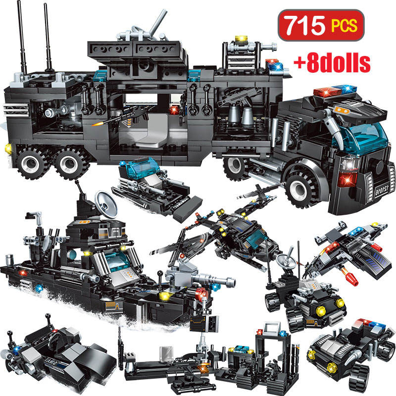 715pcs City Police Station Car Building Blocks For City SWAT Team Truck House Blocks Technic Diy Toy For Boys Children