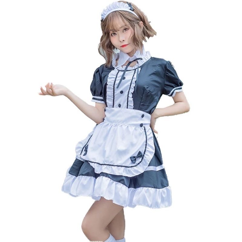Sweet Lolita Kleid French Maid Kellner Kostüm Frauen Sexy Mini Pinafore Cute Ouji Outfit Halloween Outfit für Mädchen Plus Size 4XL