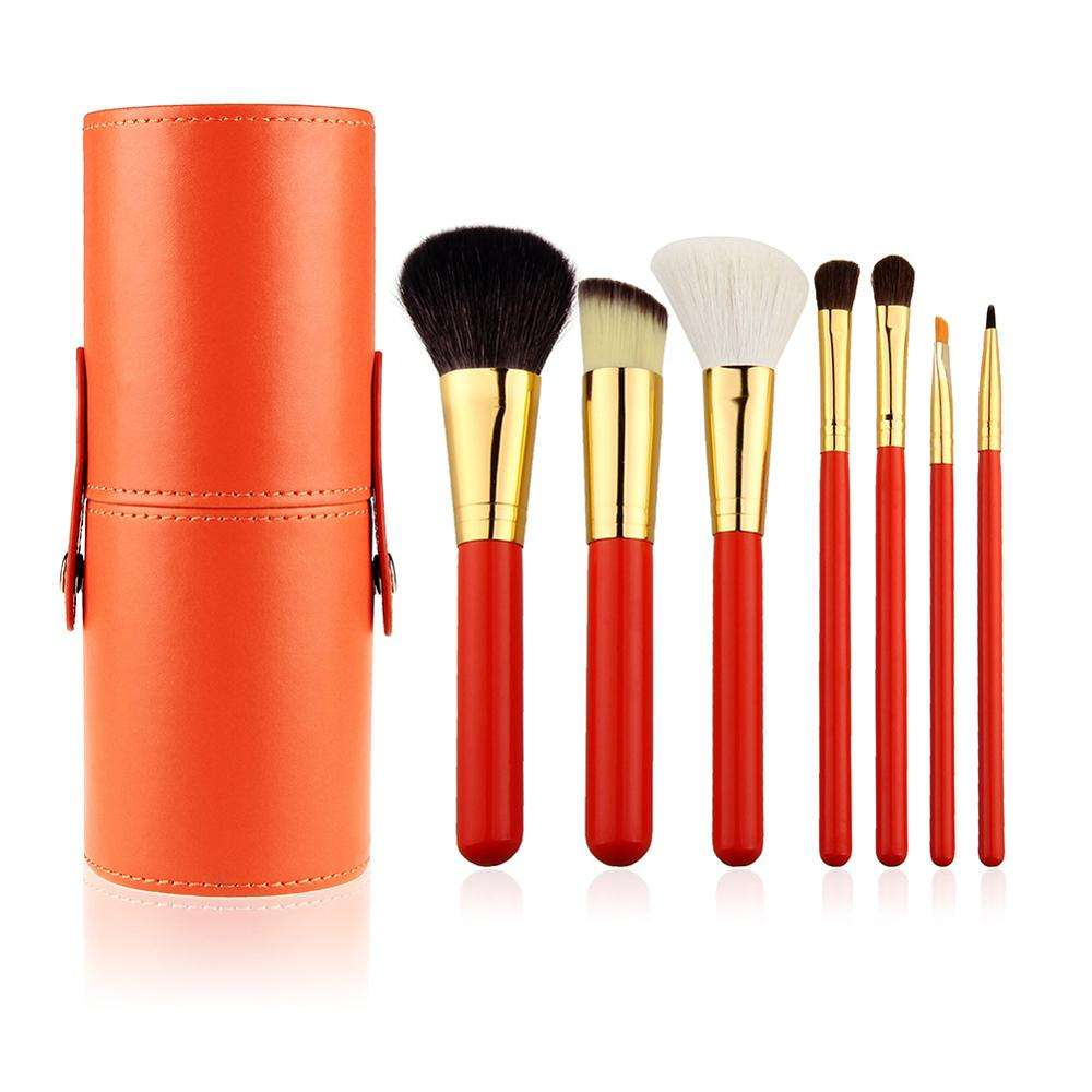 Free Shipping Excellent Animal Goat Hair 7pcs Makeup Brushes Set For Cosmetic Foundation With Travel Portable Cylinder Holder