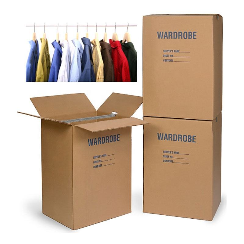Colored corrugated wardrobe moving boxes packaging corrugated paper carton plus Bars