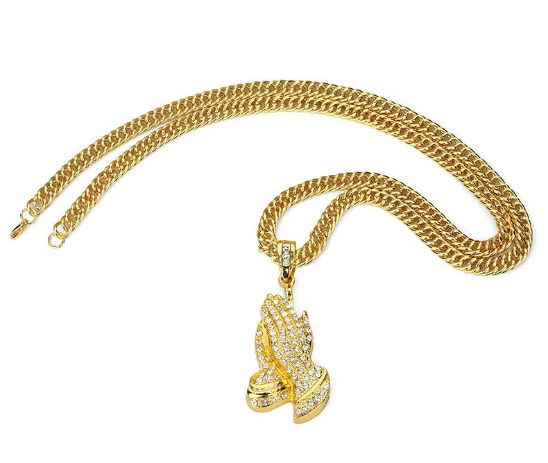 2020 Fashion Zinc Alloy gold and silver color Trendy Hip Hop Buddhism Prayer Hand Chain Necklace in stock Jewelry