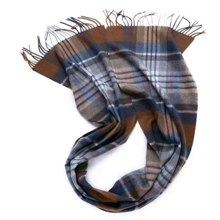 Mens checked plaid double sided thick mongolian wool mens cashmere scarf