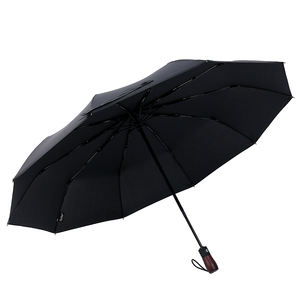 auto open auto close black coating wood grip automatic uv business classic style 3 folding umbrella