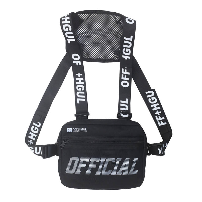 Wholesale Custom big cross body outdoor fashion sports sling men unisex vest rig chest bag
