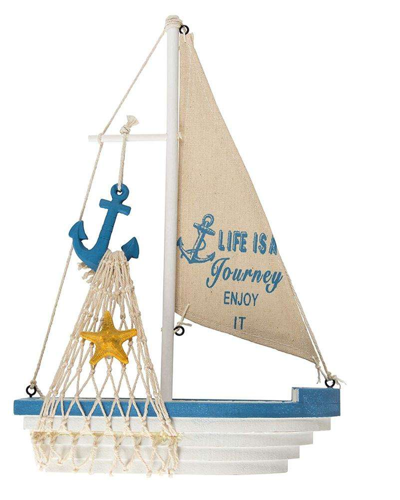 Model Decoration Beach Nautical Design Wooden Sailing Boat with Anchor