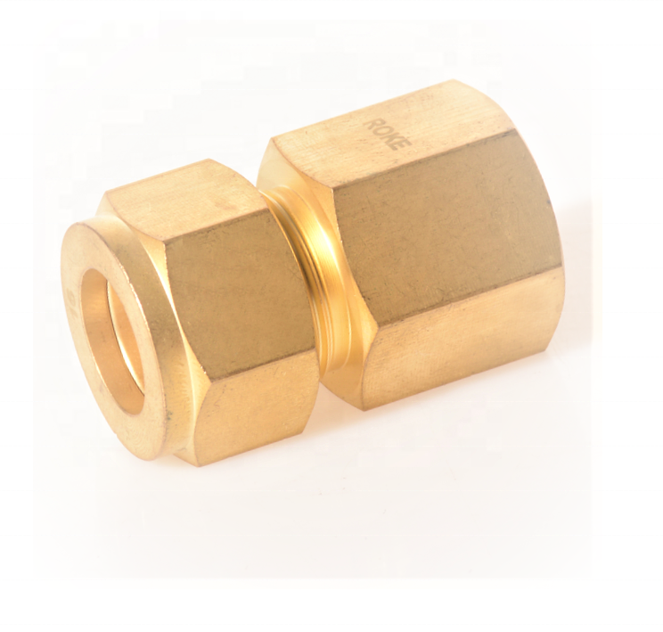 Brass Double Ferrules Metric Tube Fittings Female Connector 2 mm to 38 mm