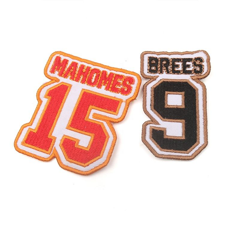 Wholesale Iron on Merrow Border Textile Custom Brand Logo Embroidery Camping Numbers Patches for Sweaters