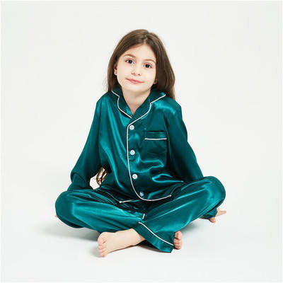 OEM boys satin pajamas silk like sleepwear sleeping suit kids pajamas casual wear baby nighty