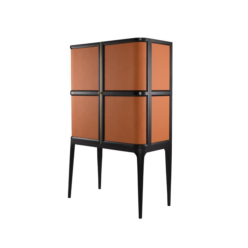 high quality living room furniture wine cabinet modern orange leather upholstered display cabinet custom wood cabinet
